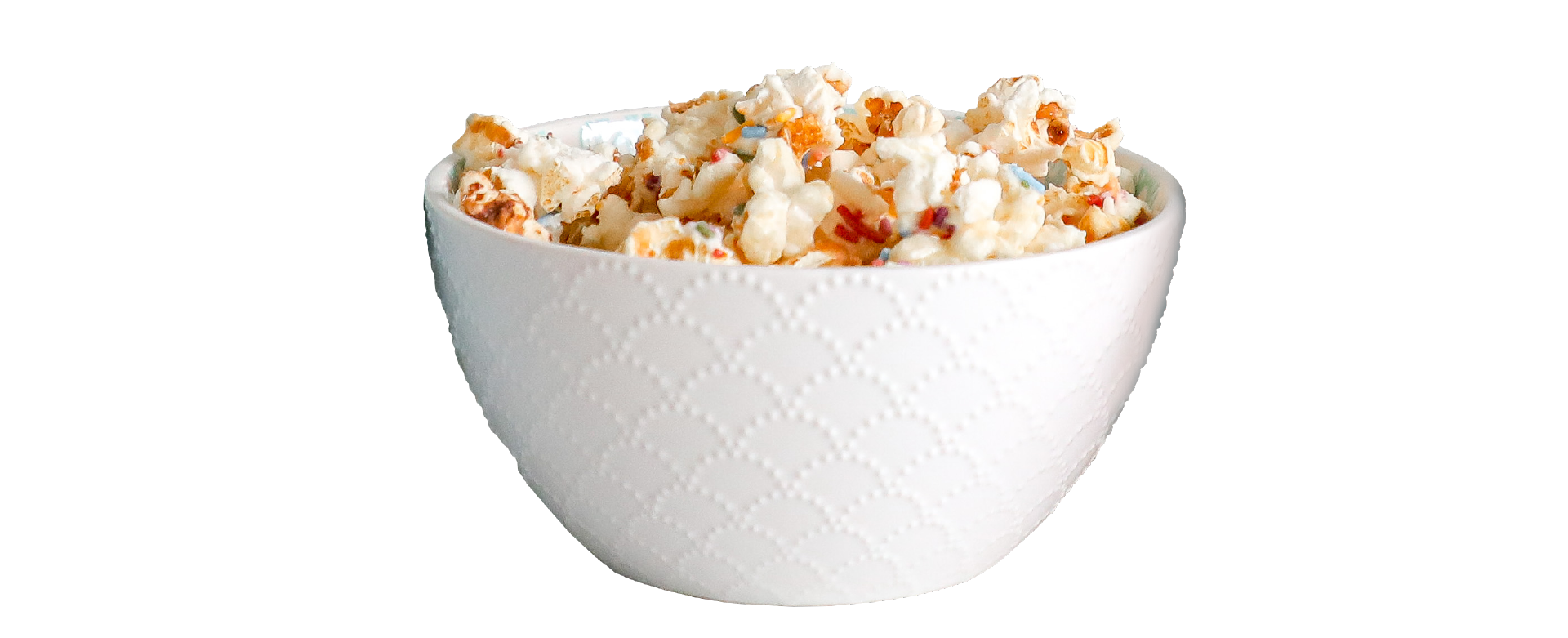 bowl of drizzled popcorn